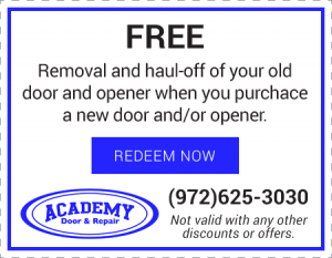 Free Removal and Haul-Off of Old Door/Opener with Purchase of New Door/Opener